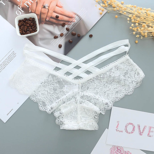 Sexy Panties Women Lace Low-rise Solid Sexy Briefs Female Underwear Pant Ladies Cross strap lace Lingerie Women G String Thong