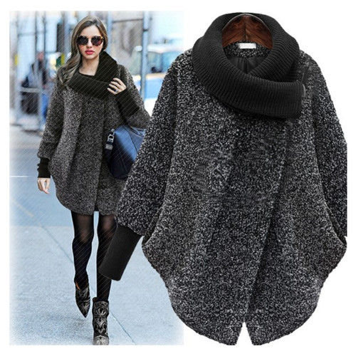 Plus Size S-XL New Fashion Coat For Women Solid Black Gray Woolen Coat Long Outerwear Jacket Overcoat Winter Autumn Women Coat