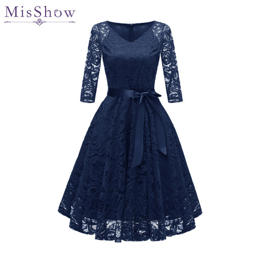 In Stock Navy Blue Cocktail Dresses Elegant Short Pink Dress Lace Formal Dresses Cheap Homecoming Dress 2018 Prom Gown With Sash
