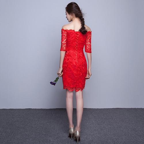 DongCMY New 2018 short fashion elegant medium sleeves lace green color Party bandage Cocktail Dress