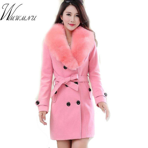 WMWMNU 2018 winter fashion slim long wool coat women Big Fur Collar Double Breasted warm wool jacket Elegant vintage pink coat