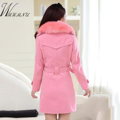 WMWMNU 2018 winter fashion slim long wool coat women Big Fur Collar Double Breasted warm wool jacket Elegant vintage pink coat