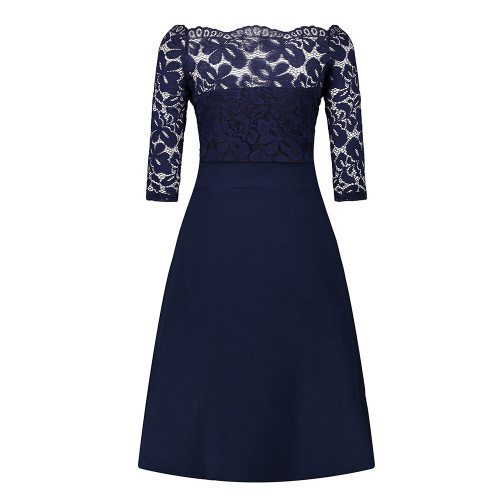 Cheap Navy Blue Cocktail Dresses Elegant Short Little Black Dress Lace Off shoulder Formal Dresses Short Sleeve Satin Prom Gown