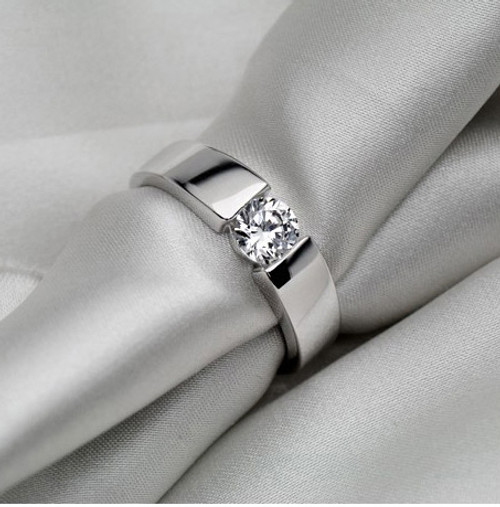 Solid Gold Ring for Man Jewelry 0.5CT Round Diamond Male Engagement Ring for Husband 14K White Gold Men Jewellery