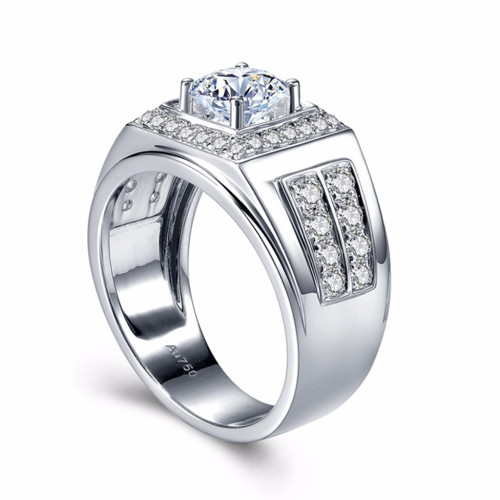 Round 14K White Gold Moissanite Ring 1ct 6.5mm   Luxury ,Moissanite Weding Ring for mens
