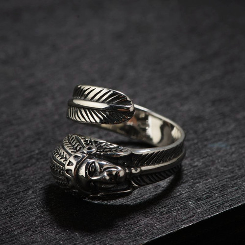 FNJ 925 Silver Face Ring Feather Original S925 Sterling Silver Rings for Women Jewelry Adjustable USA Size