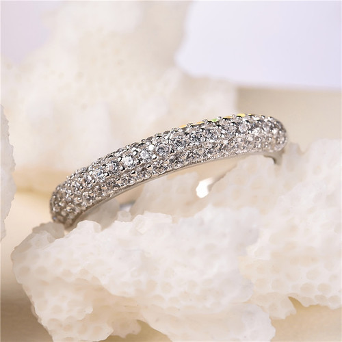 2018 new Real Fashion 100% Pure 925 Sterling Silver Silver Rings with Crystal Bridal Engagement Party Finger Ring for Women