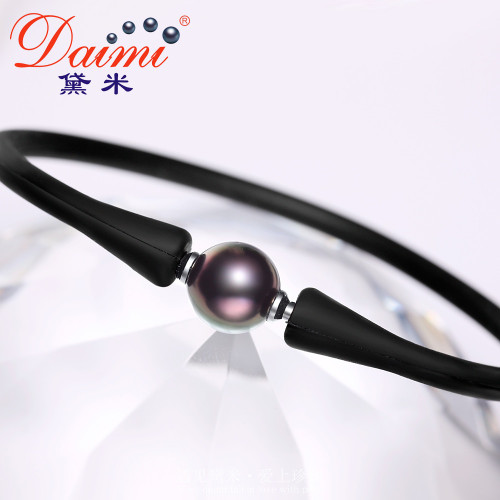 DAIMI Father's Day Gift Best Gift For Husband Man Bangle Men Bracelet 10-10.5mm Black Tahitian Pearl Bracelet