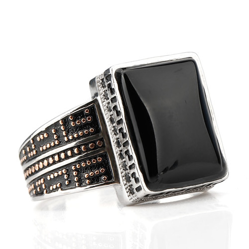 925 Sterling Silver Ring Punk Geometric Rectangle Black Agate Stone Small Zircon Stone Ring for Men Wedding Fine Jewelry