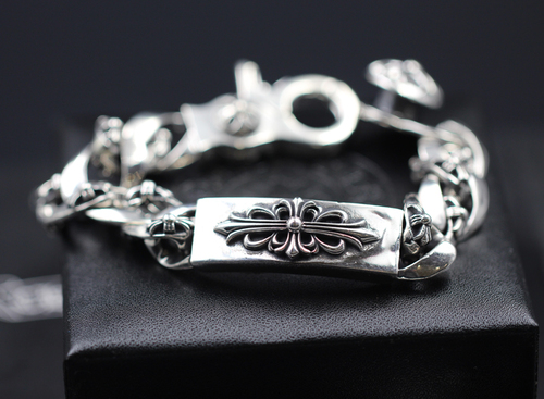 S925 sterling silver men's bracelet personality classic punk style hip-hop domineering cross military flower jewelry shape gift