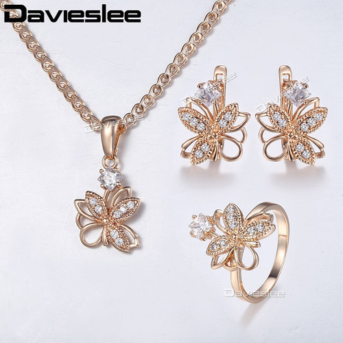 Davieslee Jewelry Set For Women 585 Rose Gold Filled Flower Earrings Ring Pendant Necklace Paved Clear Rhinestones LGE162