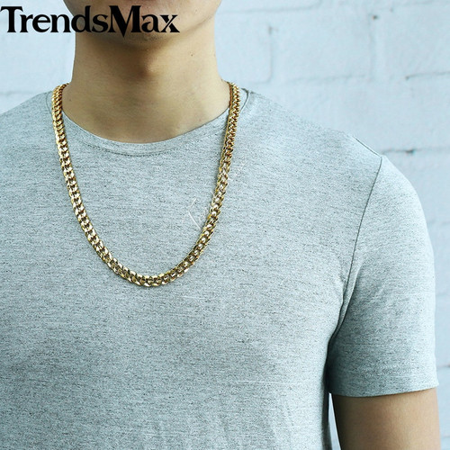 Trendsmax Men's Necklace 585 Rose Gold Silver Hiphop Miami Curb Link Chain Neckalce For Male Jewelry 2018 Dropshipping 9mm KGN57