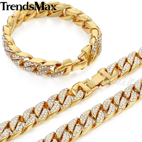 Trendsmax Hiphop Miami Curb Cuban Womens Mens Necklace Bracelet Jewelry Set Bling Iced Out Gold Silver Color 14mm GS259