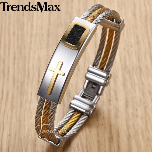 Trendsmax Men's Bracelet Bangle Cross ID Charm Stainless Steel 3 Strands Rope Wristband Wholesale Dropshipping Jewelry KKB533