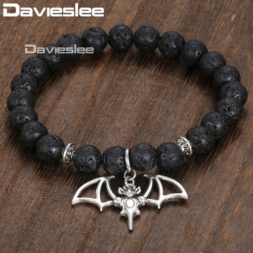 Bat Charm Bracelet for Men Women Lava Bead Double Layer Bracelet Stainless Steel Curb Cuban Chain DLBF09AB