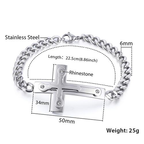 Davieslee 3-Layer Cross Charm Bracelet Boys Mens Chain Curb Cuban Link Stainless Steel Silver 6mm DKB549
