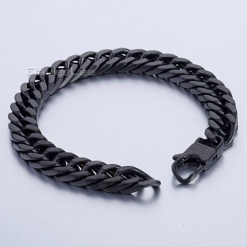 Davieslee 10mm Mens Bracelet Black Curb Cuban Link Chain 316L Stainless Steel Bracelet DLHB429