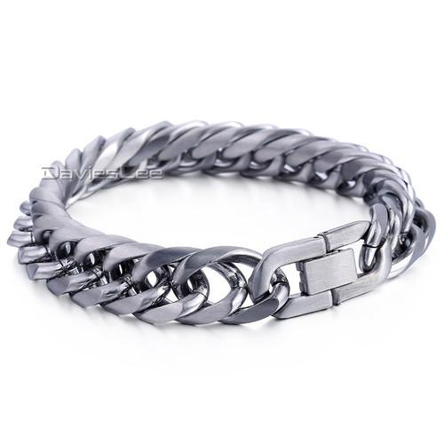 Davieslee 13mm Wide MATTE Cut Rombo Double Cuban Curb Link 316L Stainless Steel Bracelet Mens Boys Chain Jewelry DLHB453