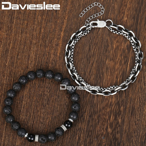 Davieslee Double Chain Cable Box Link Mens Bracelet for Women Black Lava Bead Stainless Steel Gunmatel Silver DDLB51