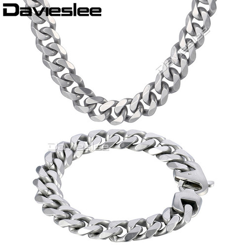 Daiveslee Matte Mens Necklace Bracelet Jewelry Set  316L Stainless Steel Chain Silver Tone Curb Cuban Link DHS42