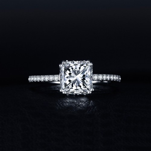 JewelryPalace 1.5ct Princess Cut Cubic Zirconia Anniversary Wedding 925 Sterling Silver Finger Ring For Women Fashion Jewelry
