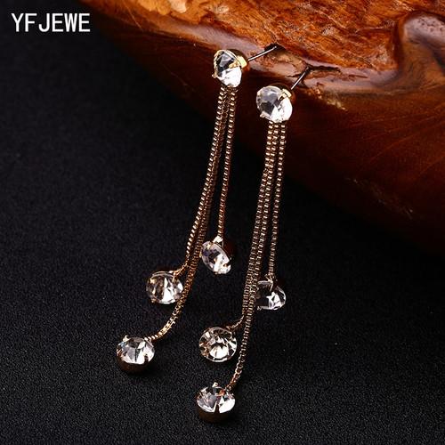 YFJEWE New Fashion Drop Rhinestone Earrings Brief Personality Tassel Long Design Sparkling Crystal Earrings Female Earrings E059
