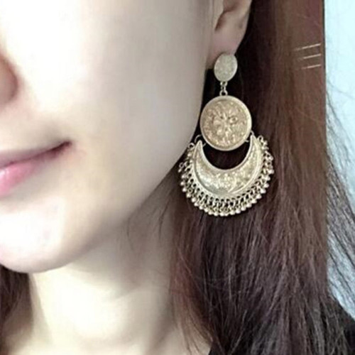 Boho Beaded Tassel Earrings For Women Fashion Ethnic Jewelr Antique Gold Color Vintage Flower Carved Multilayer Long Earring