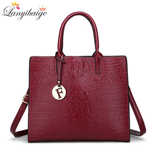 LANYIBAIGE 2018 Women Crocodile Pattern Handbag Designer Leather Large Shoulder Bag Female Fashion Messenger Bag Totes Bolsas
