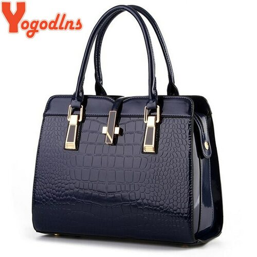 Yogodlns Big Women's Shoulder Bags Cross Lock Design Lady Tote Handbag Elegant Alligator Patent Leather Women Handbag