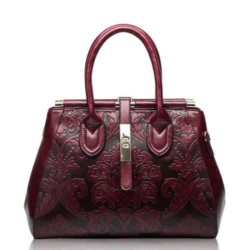 FoxTail & Lily Chinese Style Vintage Shoulder Bags Women Genuine Leather Embossed Handbags Elegant Ladies Crossbody Bag Hot Sale