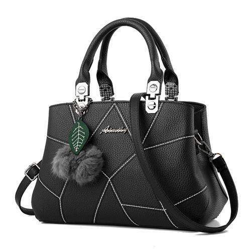 New Sale PU Leather Women Handbags with Fur Top-Handle Women Bag Purse Ladies Shoulder Bag Crossbody Messenger Casual Tote Black
