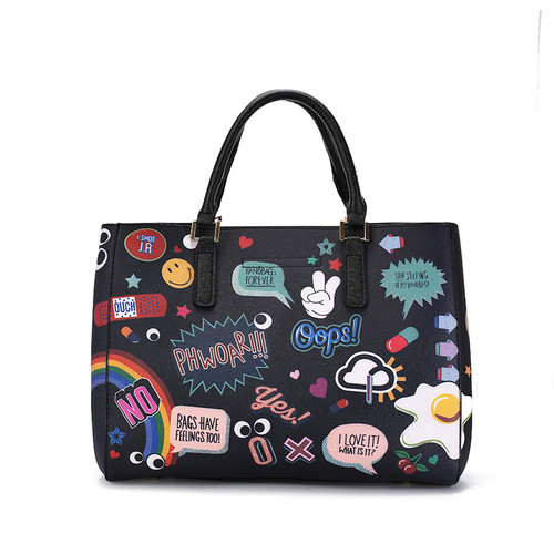 2018 Hot Cartoon Graffiti Printed Top-handle Women Handbag Crossbody Shoulder Bag Lady with Purses Clutches Girls Flap Bag