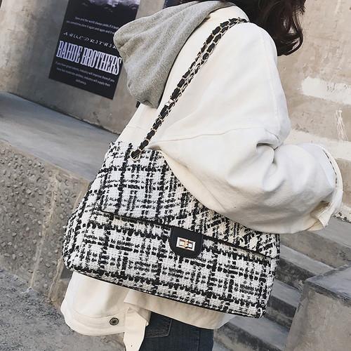 Wool plaid totes fashion Chains handbags luxury brand women leather wool handbags diamond Thread lattice bags new crossbody bags