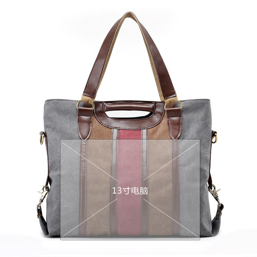 KVKY Vintage Canvas Women Handbags High Quality Ladies Shoulder Bag Patchwork Women Lady Bag  Casual Tote Crossbody Bolsa