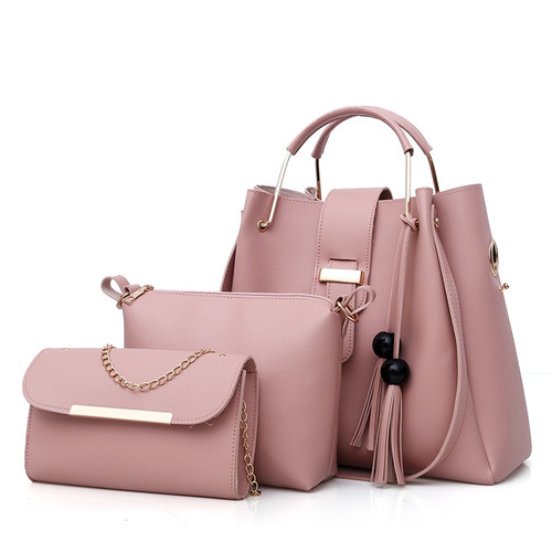 018 Women 3Pcs/Set Handbags PU Leather Shoulder Bags Casual Tote Bag Tassel Metal Handle Designer Composite Bags bolsa feminina