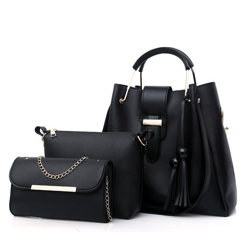 018 Women 3Pcs/Set Handbags PU Leather Shoulder Bags Casual Tote Bag Tassel Metal Handle Designer Composite Bags bolsa feminina