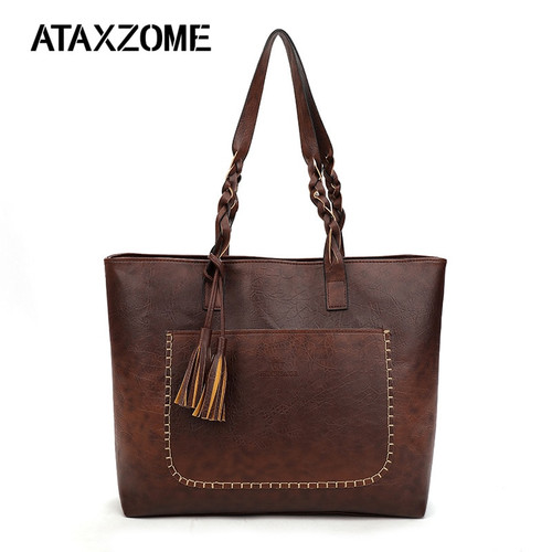 ATAXZOME large shoulder handbags for women leather designer female messenger bag ladies pu hand tote bags dropshipping tassel