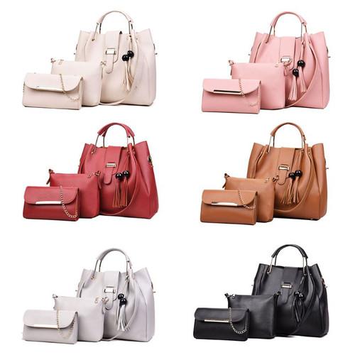High Quality Shoulder Bag 3Pcs/Set Women's PU Leather Handbag Shoulder Bags Tote Purse Messenger Satchel