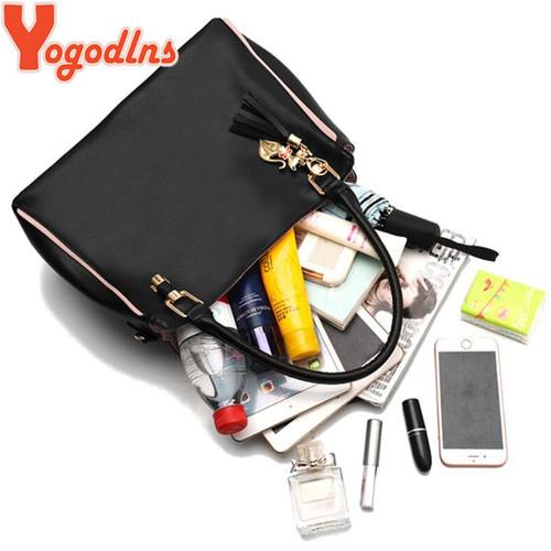 Yogodlns Large Capasity Leather Bag for Women Simple temperament handbag tassel  Crossbody Bags Shoulder Bags Cartoon hanging