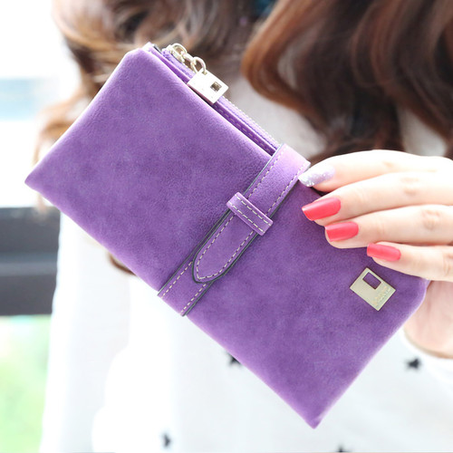 2018 Drawstring Nubuck Leather Zipper Women Wallets Long Designer Female Purse Two Fold Card Holder Phone Bag with Coin Purse