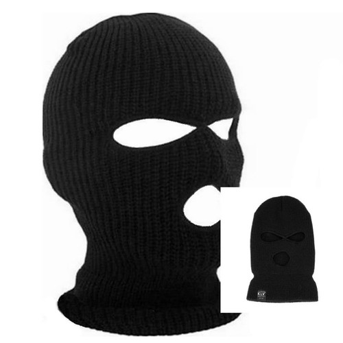 3 Hole Ski Mask Balaclava Black Knit Hat Face Shield Beanie Cap Snow Winter Warm