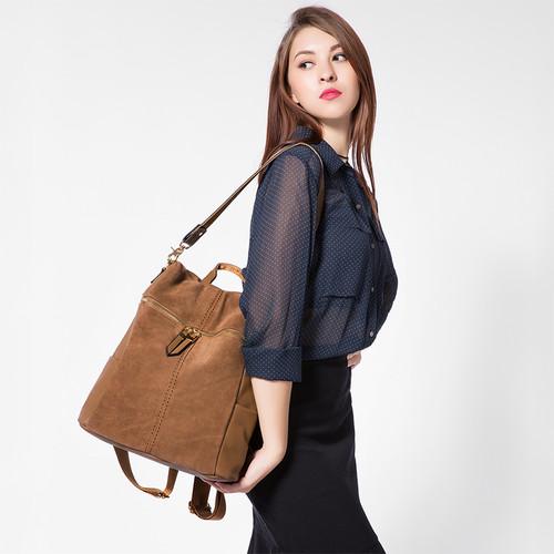 LOVEVOOK women backpack genuine leather school bags for teenage girls casual large capacity multifunctional shoulder bag vintage