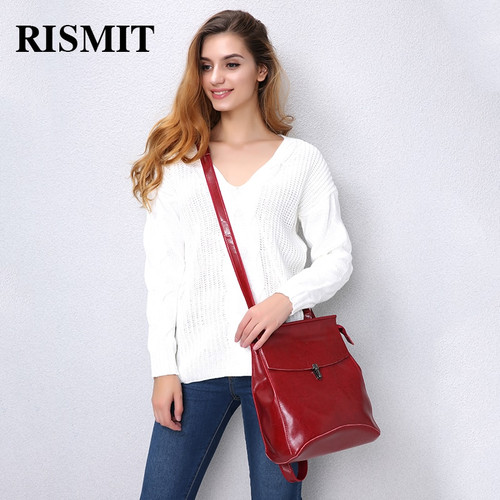 RISMIT fashion quality cow split leather women backpack vintage backpack for teenage girls casual bags female shoulder bags 0690