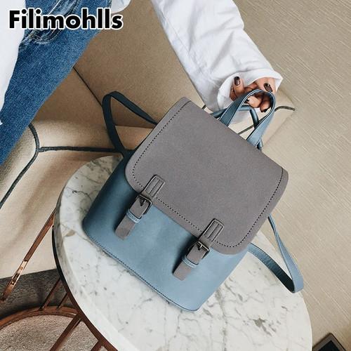 Fashion Small School Bags for Girls Black Scrub PU Leather Female Backpack Sac A Dos 2018 Brand Backpack Women Backpacks F-47