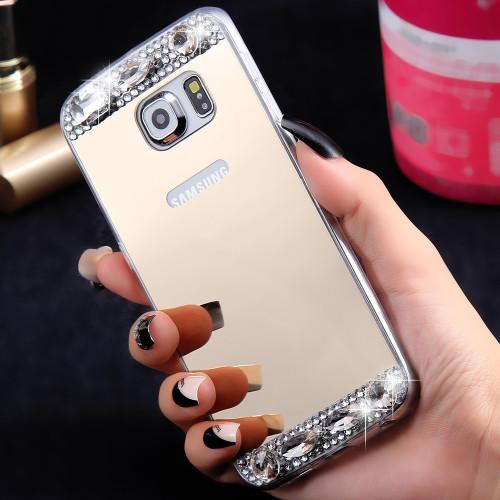 KISSCASE Mirror Case For Samsung Galaxy S6 S7 Edge Case For Samsung Galaxy S8 S8 Plus Diamond Soft Phone Cover For Girl Women