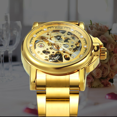 Luxury Women Golden Skeleton Auto Mechanical Watch Stainless Steel Strap Crystal Diamond Decoration  Ladies Wristwatch
