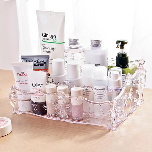 Large Capacity Clear Acrylic Makeup Organizer Vintage Bathroom Cosmetic Storage Box Makeup Display Case
