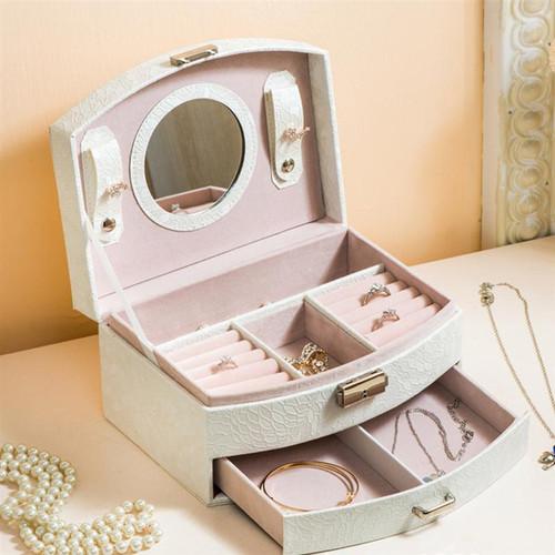 Double-layer PU Leather Watch Jewelry Display Box Lockable Jewelry Storage Organizer