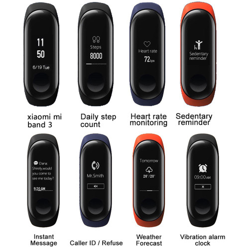 Original xiaomi me band 3 bracelet Smart Band mi Band 3 Heart Rate Monitor Miband 3 OLED Touchpad Fitness watch Wristband 3