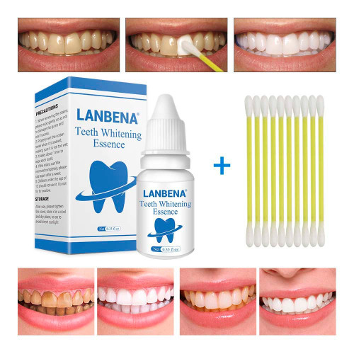 10PCS LANBENA Teeth Whitening Essence Powder Tooth Bleaching Dental Tools Oral Hygiene Removes Plaque Stains Daily Use
